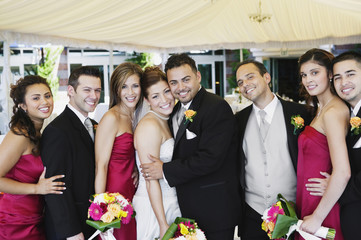 Portrait of multi-ethnic bridal party