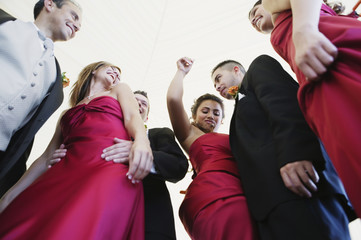 Low angle view of multi-ethnic bridal party