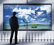 Businessman looking at interactive video display