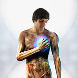Anatomical man holding hand over glowing chest