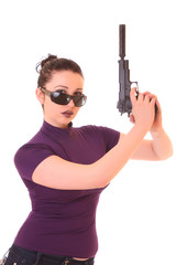 Young woman win gun isolated on white