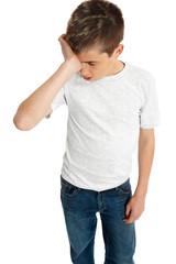 Boy child upset,  stressed or tired