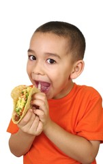 boy with a taco, isolated on white