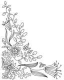 Abstract floral doodle vector frame poster