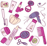 Collection of female accessories of beauty. Cosmetic icons poster