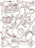 Kitchen doodles. Vector illustration poster