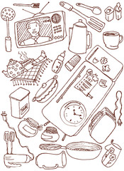 Kitchen doodles. Vector illustration