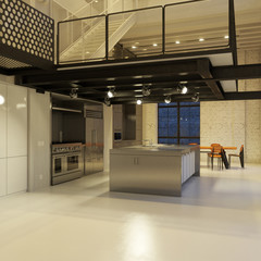 Contemporary steel kitchen in converted industrial loft