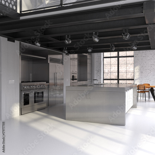 Modern steel kitchen in converted industrial loft