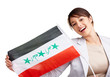 Young woman displaying an Iraqi flag against white background