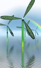 éoliennes vertes dans l'eau