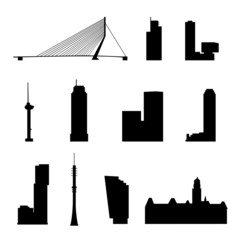 rotterdam landmarks isolated