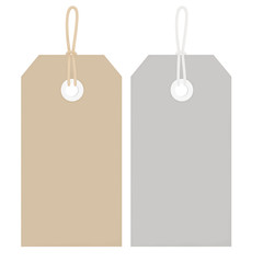 Price Tags with String - Buff and Grey