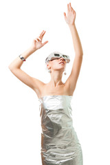Technological woman in virtual reality glasses