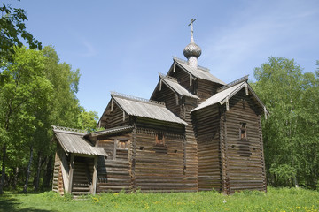 Old wooden church in Novgorod region