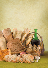 healthy appetizing still life with bread on wood tray