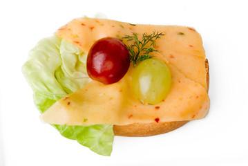 Käsebrot mit Trauben