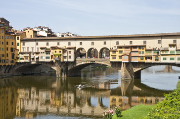 Kayak Rowing Under Ponte Vecchio