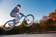 Jugendlicher springt auf BMX Bahn über Funbox mit Dirtbike
