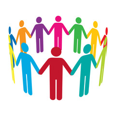 Vector Circle of Colourful Men