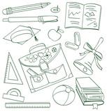 Outline school doodle. Vector illustration poster