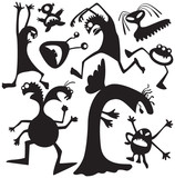 Silhouettes of doodle monsters-bacteria poster