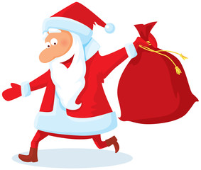 Running santa with a bag of gifts