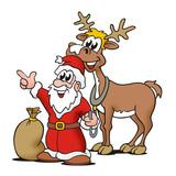 Fototapety Santa mit Rentier