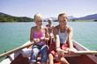 Girls rowing boat