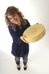 Donna con forma di formaggio