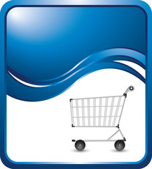 Shopping card on blue wave background