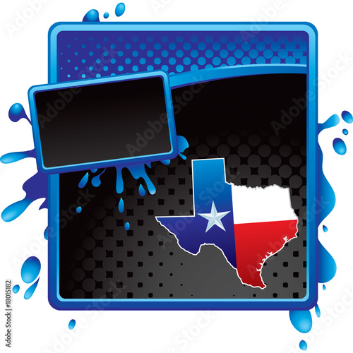 Texs icon on blue and black halftone grunge advertisement