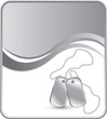 Dog tags on silver wave background