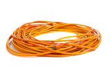 An orange extension cord on white poster