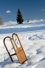Sleigh in snow