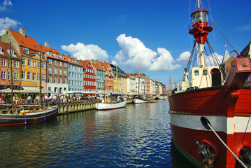 Nyhavn (new Harbor) in Copenhagen, Denmark.