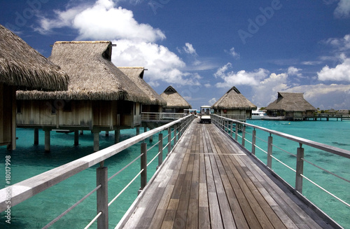 overwater bungalows at tropic lagoon in Bora-Bora