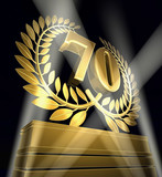 70 birthday anniversary laurel wreath poster