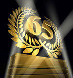65 birthday anniversary laurel wreath poster