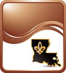 Lousiana icon on bronze wave background