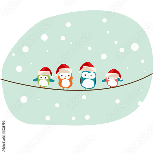 vector birds Christmas background