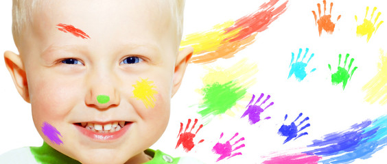 Happiness young smiles boy and color hands