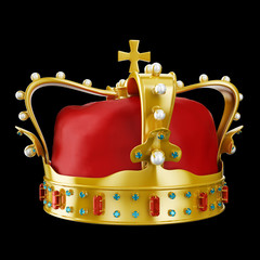 Golden king's crown with rubies sapphires and pearls
