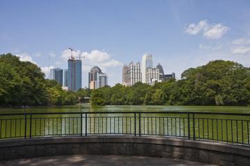 Atlanta Skyline Past Patio on Lake