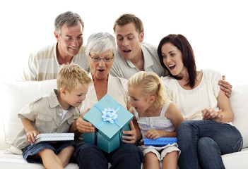 Family giving a present to grandmother