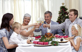 Family drinking a toast in a Christmas dinner