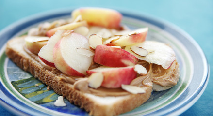 peanut butter sandwich with fresh fruit