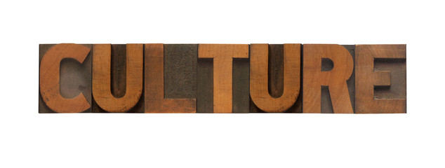 the word culture in old wood type