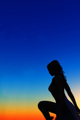 silhouette of woman on blue and orange background