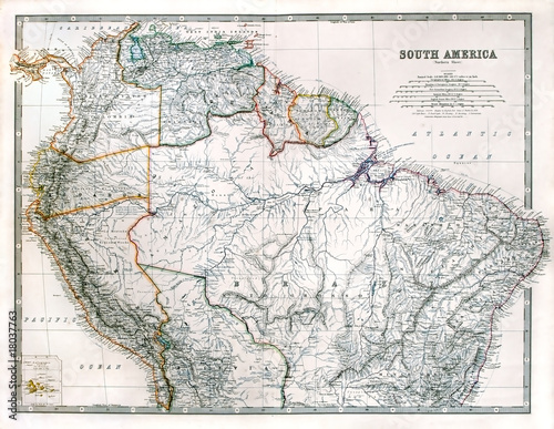 Vintage South America map, printed in 1875.